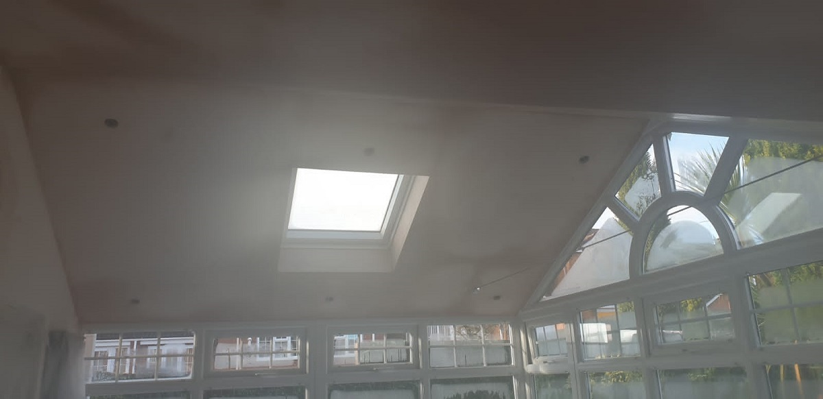 Plastering inside gable ended conservatory roof