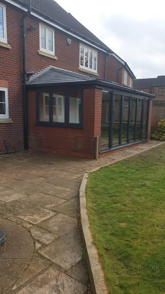 Lean To Conservatory Replacement Roof, Windows and Bi folding foors